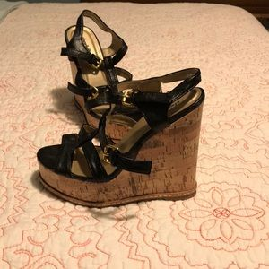 Size 8 strappy black cork wedge